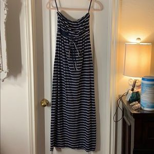 Motherhood Striped Strapless Maxi Dress